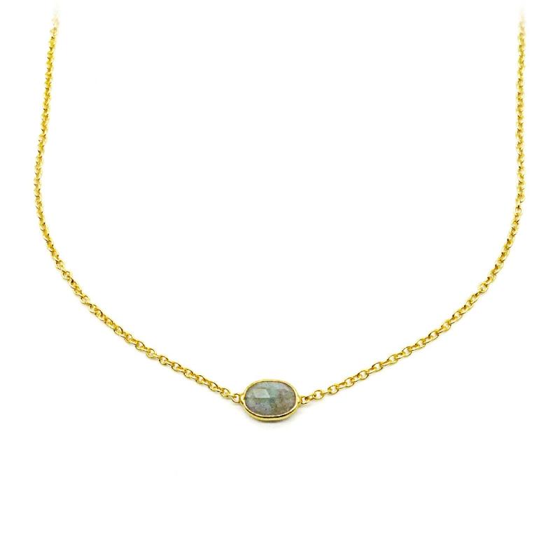 Collier argent plaqué or serti labradorite ovale - chaîne dorée et pierre fine ronde - muja juma - les inutiles