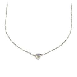Collier en argent serti d'une labradorite triangulaire - chaîne dorée et pierre fine triangle - muja juma - les inutiles