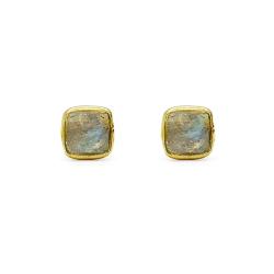Boucles d'oreilles en vermeil serties labradorite carrée - puces tige poussette dorées  muja juma - boutique les inutiles