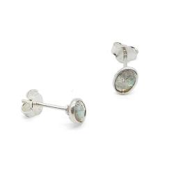 Boucles d'oreilles argent serties labradorite carrée - puces tige poussette clous  muja juma - boutique les inutiles
