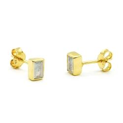 Boucles d'oreilles en vermeil serties labradorite rectangle - puces tige poussette dorées  muja juma - boutique les inutiles
