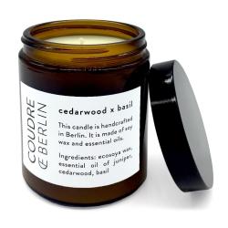 bougie aromatique à la cire de soja et aux huiles essentielles - cedarwood x basilic - boutique les inutiles