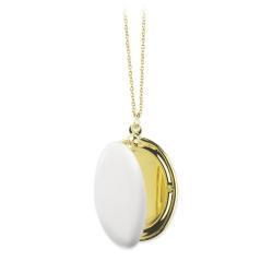 Médaillon Photo Blanc - Sautoir Cassolette - Collier Trois Petits Points Boutique Les inutiles