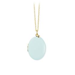 Médaillon Photo Bleu ciel - Sautoir Cassolette - Collier Trois Petits Points Boutique Les inutiles