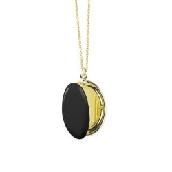 Médaillon Photo Noir Charbon - Sautoir Cassolette - Collier Trois Petits Points Boutique Les inutiles
