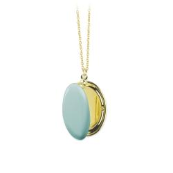 Médaillon Photo Bleu Lichen - Sautoir Cassolette - Collier Trois Petits Points Boutique Les inutiles