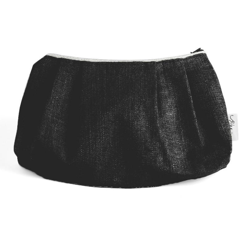 Pochette en Lin Noir Anthracite - Trousse A.U. Maison en coton ciré - Boutique Les inutiles
