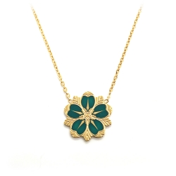Collier Art Déco Emaillé Vert - Pendentif Coco Fleur de cerisier - Boutique Les inutiles