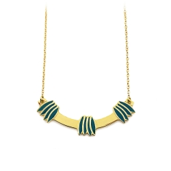 Collier graphique Emaillé vert pin - Pendentif Végétal Line - Boutique Les inutiles