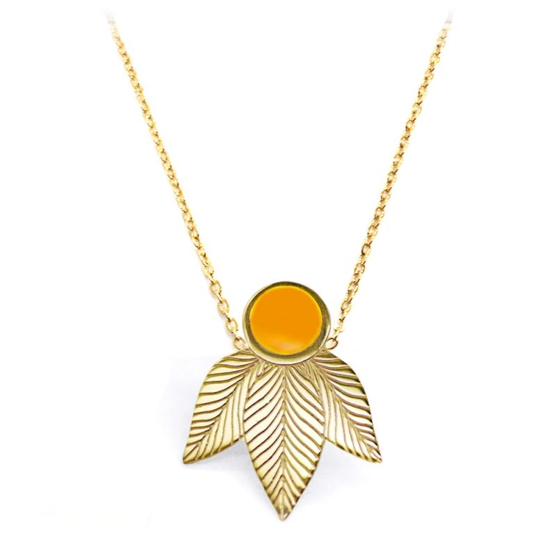 Collier Art Déco Emaillé Jaune Orange - Pendentif Joséphine - Boutique Les inutiles