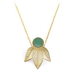 Pendentif feuilles vert sauge • Collier en acier doré • Boutique de créateurs à Loches • eshop Les inutiles