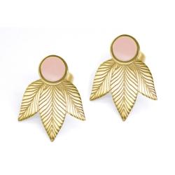Boucles d'oreilles Art Déco Emaillées Rose - Motif végétal Joséphine - Boutique Les inutiles