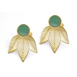 Boucles d'oreilles Art Déco Emaillées Vert Sauge - Motif végétal Joséphine - Boutique Les inutiles