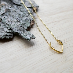Petit Collier Cornes de Cerf doré à l'or fin - Bijoux 7bis - Pendentif Pan - Boutique Les inutiles