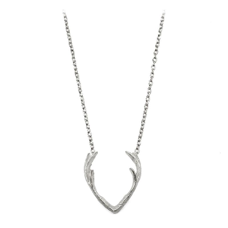 Petit Collier Cornes de Cerf argenté - Bijoux 7bis - Pendentif Pan - Boutique Les inutiles
