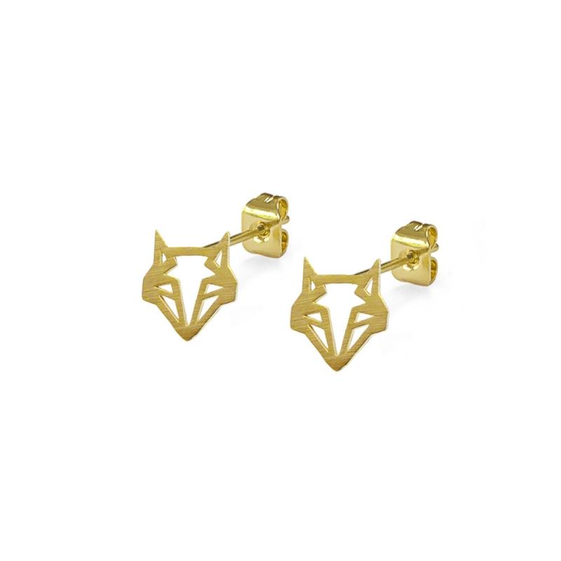 Boucles d'oreilles Renard Dorées - Puces Or Origami Boutique Les inutiles