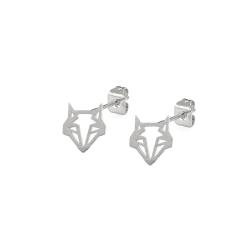 Boucles d'oreilles Renard Argentées - Puces Argent Origami Boutique Les inutiles