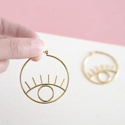 Créoles oeil or - Boucles d'oreilles yeux dorées - boutique les inutiles