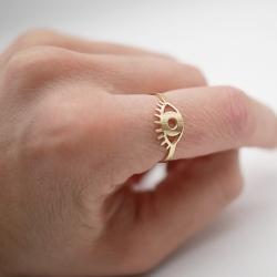 Bague Twiggy or - anneau oeil doré - boutique les inutiles