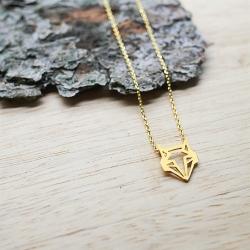 Petit Collier Renard Origami doré à l'or fin - Bijoux 7bis - Boutique Les inutiles et barrette plume