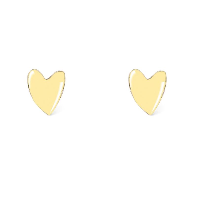 Boucles d'oreilles Grant de Titlee - Tige poucette clou puce coeur jaune paille - Les inutiles