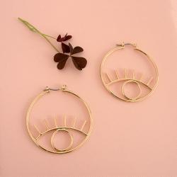 Créoles twiggy or - Boucles d'oreilles yeux dorées - boutique les inutiles
