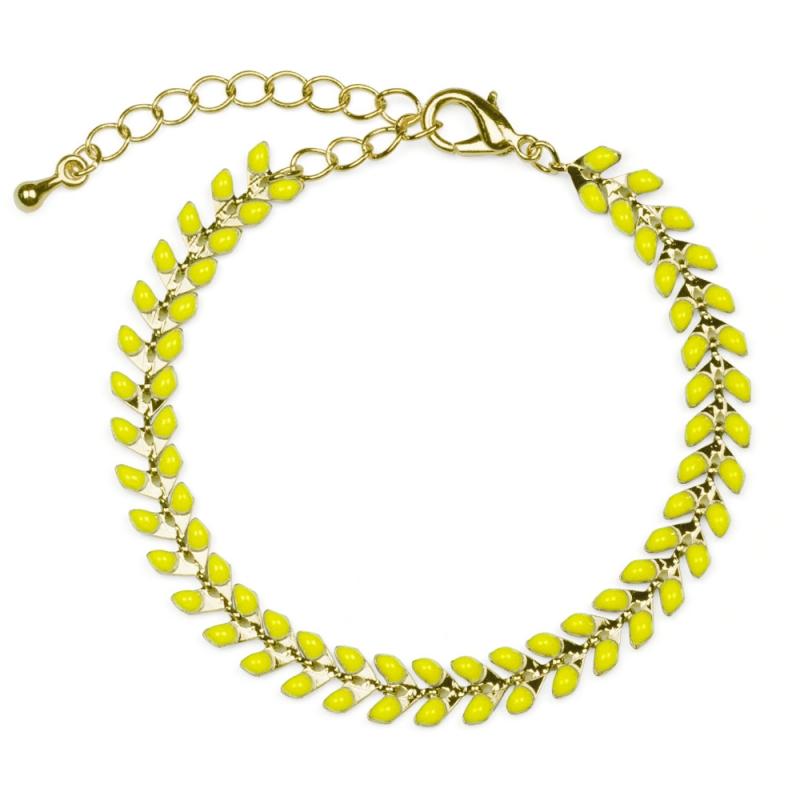 Bracelet Épis doré émaillé de jaune mimosa - boutique Les inutiles