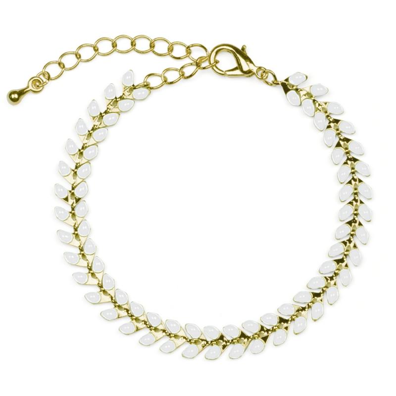 Bracelet Épis doré émaillé de blanc - boutique Les inutiles