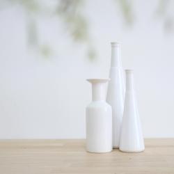 Trio de Vases Bouteille - Soliflores en céramique Blanche - Coming B - Boutique Les inutiles