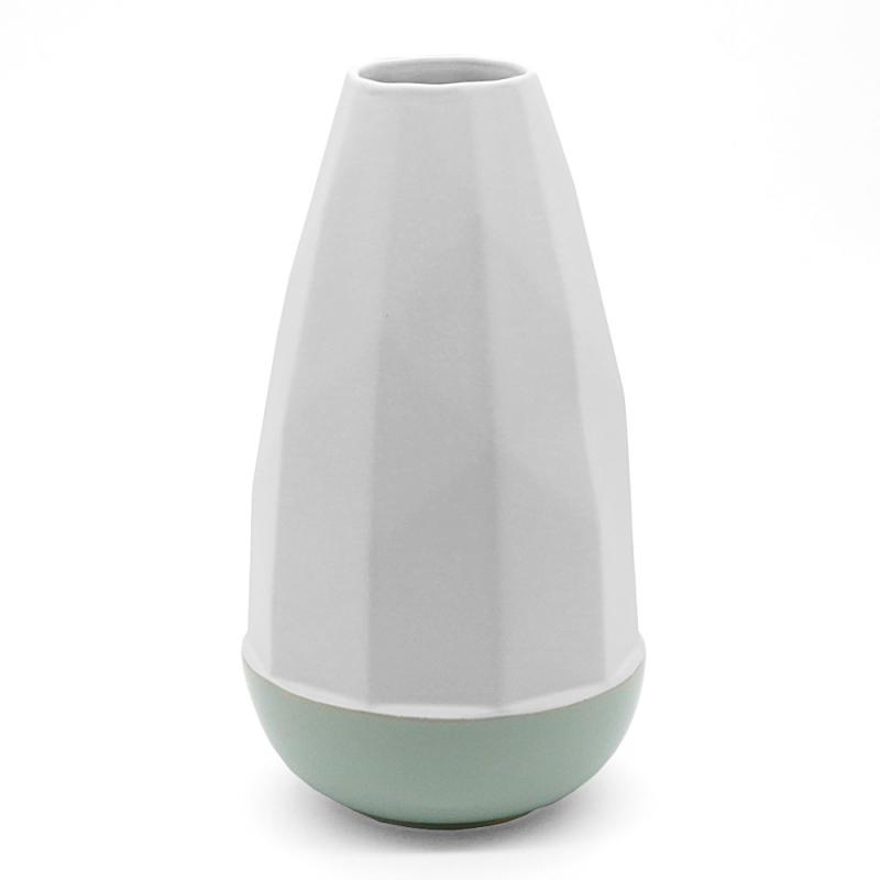 Vase Blanc et Mint en céramique bicolore - Coming B - Boutique Les inutiles