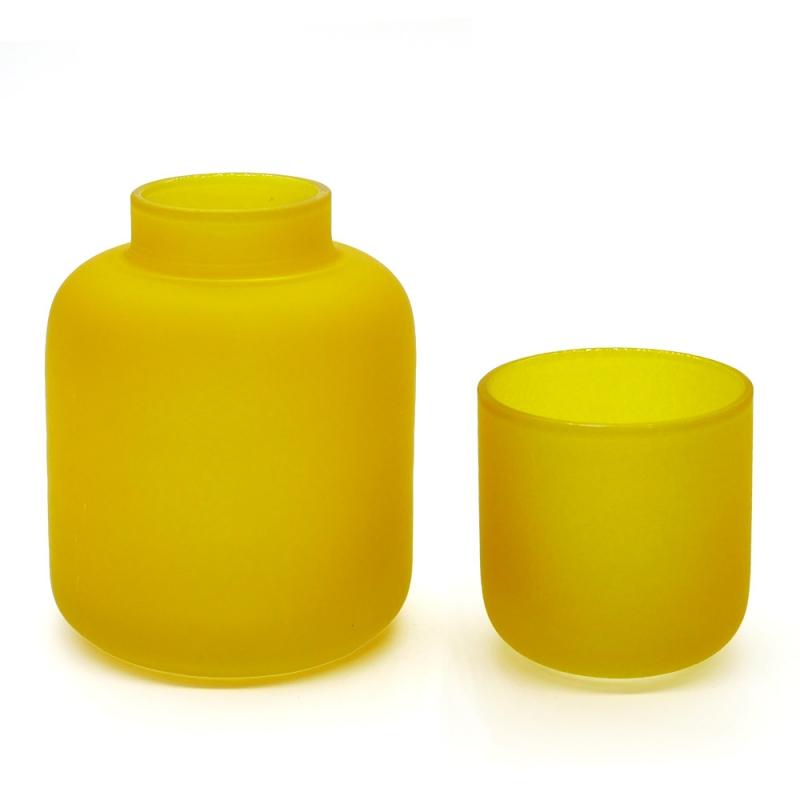 Duo photophore et soliflore ocre en verre dépoli - Vase Opale Coming B - Les inutiles