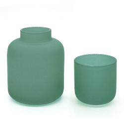 Duo photophore et soliflore vert sauge en verre dépoli - Vase Opale Coming B - Les inutiles
