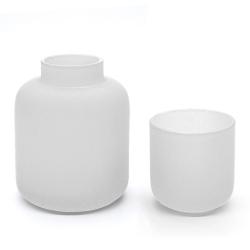 Duo photophore et soliflore Blancs en verre dépoli - Vase Opale Coming B - Les inutiles