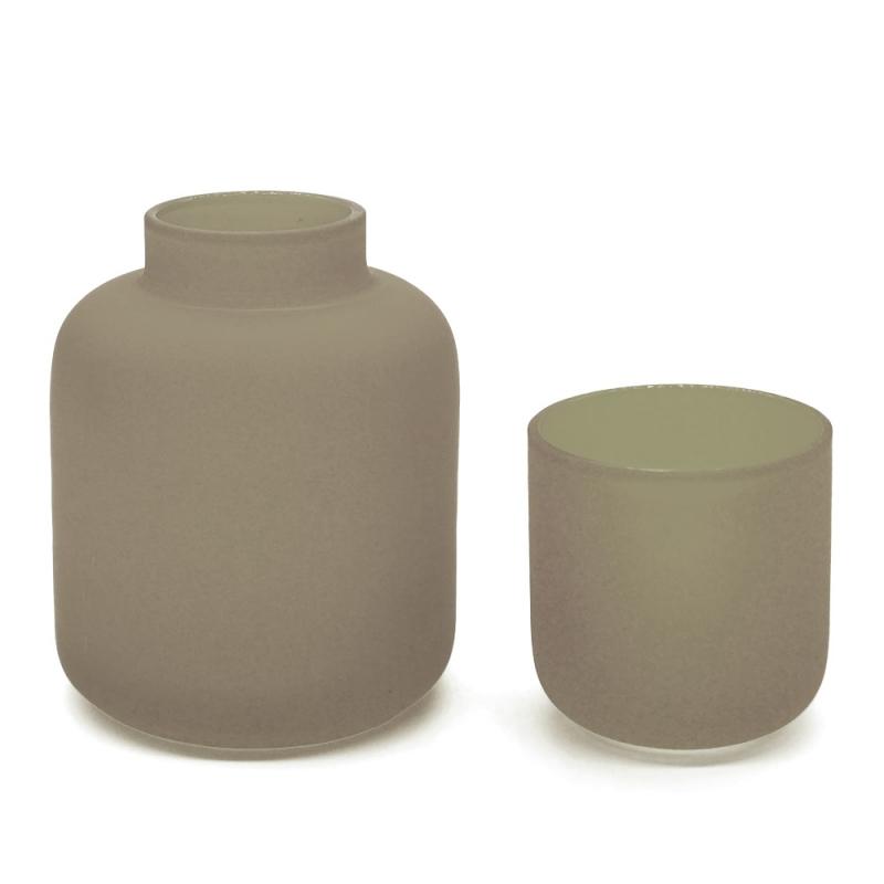 Duo photophore et soliflore gris taupe en verre dépoli - Vase Opale Coming B - Les inutiles