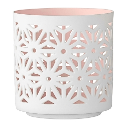 Photophore en porcelaine Dentelle Rose pastel - votive Bloomingville rose pâle - Bougeoir rose - Boutique Les inutiles