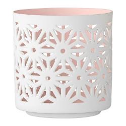 Photophore en porcelaine Dentelle Rose pastel - votive Bloomingville rose pâle - Bougeoir rose - Boutique Les inutiles