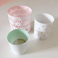 trio de Photophores en porcelaine Dentelle Rose pastel - votive Bloomingville rose pâle - Bougeoir rose - Boutique Les inutiles