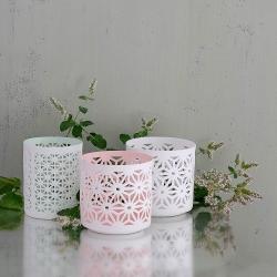 Trio de Photophores en porcelaine Dentelle Blanc - votive Bloomingville mint - Bougeoir turquoise - Boutique Les inutiles