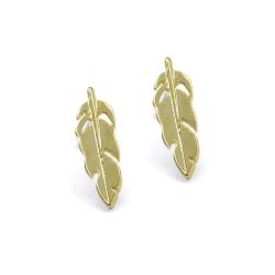 Tiny boucles d'oreilles Plumes dorées - tiges poucettes moineau - sans allergène - Boutique Les inutiles