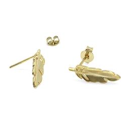 Mini boucles d'oreilles Plumes dorées - Clous oiseau - sans nickel - Boutique Les inutiles