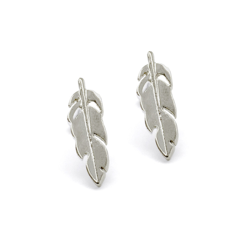 Tiny boucles d'oreilles Plumes argentées - tiges poucettes moineau - sans allergène - Boutique Les inutiles