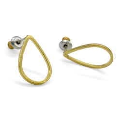 Boucles d'oreilles gouttes dorées - Boucles puces graphique - Boutique Les inutiles