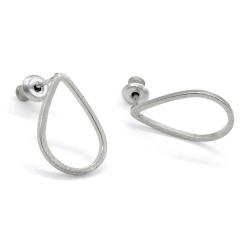 Boucles d'oreilles gouttes argentées - Boucles puces graphique - Boutique Les inutiles