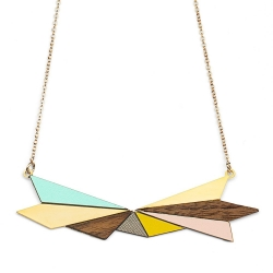 Collier Northern Light Doré - Rose & Bois - Créatrice Shlomit Ofir - Boutique Les inutiles