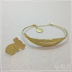 pin's koala titlee broche & bracelet feuille dorée nils avril - boutique les inutiles