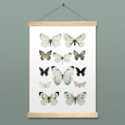 Liljebergs Affiche insectes et papillons blancs - Accroche photo en bois reglettes aimantées - Boutique Les inutiles