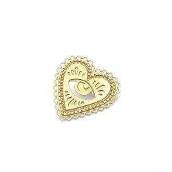 Broche Cœur Doré • Pin's Milagro et bijoux Marine Mistake • Coeur or et œil divin • Boutique Les inutiles