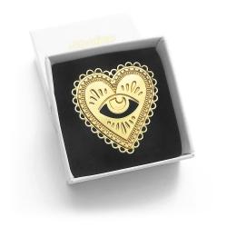 Pin's Marine Mistake Milagro • Broche coeur sacré porte bonheur doré à l'or fin • Boutique Les inutiles