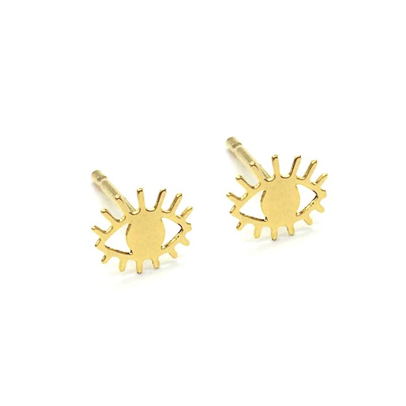 Boucles d'oreilles mini yeux or bijoux Marine Mistake • bo puces oeil doré sans nickel • boutique Les inutiles