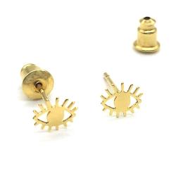 Petites boucles d'oreilles œil plaqué or • Bijoux Marine Mistake • Puces d'oreille tige poucette • Boutique Les inutiles